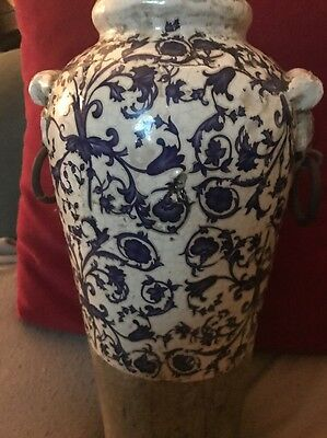 Antique Oriental Pottery Vase With Partial Blue And White Floral Decoration