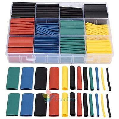 New 530 Pcs 5 Colors 8 Sizes Assorted 2:1 Heat Shrink Tubing Wrap Sleeve Kit Set