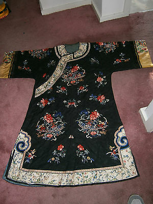 Antique Chinese Ladies Jacket Silk Flowers Circa 1870 Qing Dynasty Butterflies
