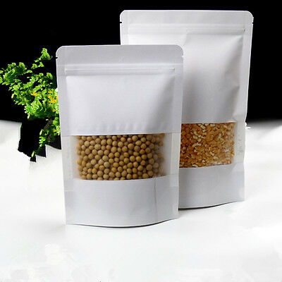 Zip Lock Kraft Paper Bags with Window Stand Up Gift Dried Food Packaging Pouch