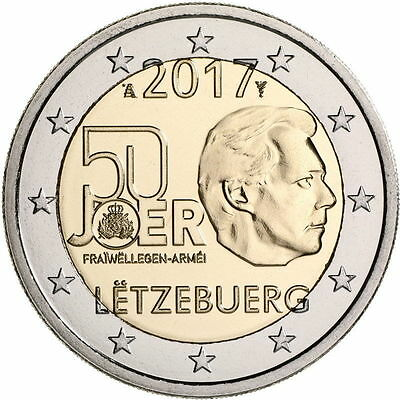 2 EUROS LUXEMBOURG 2017 - 50° ann SERVICE MILITAIRE VOLONTAIRE