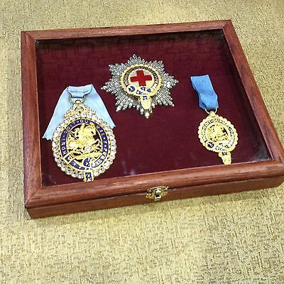 Most Noble Order and star of the Garter with crystals in the wooden box. copy