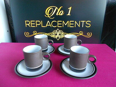 4 x Hornsea Contrast Tall Coffee Espresso Cups and Saucers