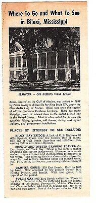 Where to Go What to See Biloxi Mississippi Vintage Brochure 1965