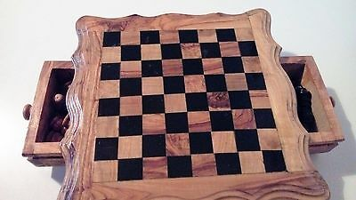 Wooden Chess Set & Table With Storage Drawers