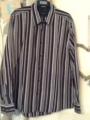 Mens Black & Grey Striped Shirt By Next Size Large Regular Excellent Condition��