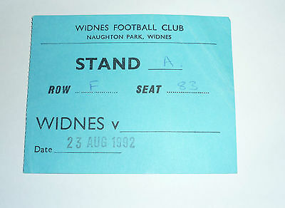 Widnes v ? 23rd AUGUST 1992, No team listed, Ticket