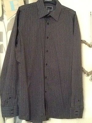 Mens Black & Grey Striped Shirt By Next Size Large 16.5 Excellent Condition��