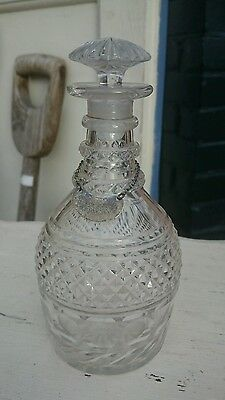 Antique Georgian cut glass decanter.  Mushroom stopper & sterling silver label.
