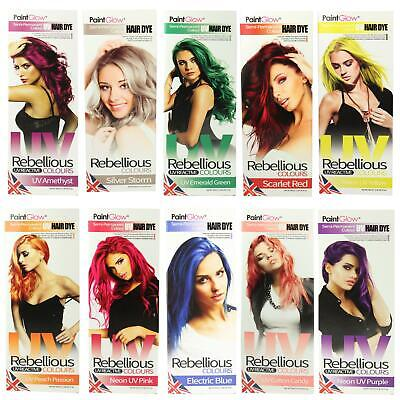 PaintGlow Semi Permanent Hair Dye Bright Neon UV Colours 1 2, 4 Pack FREE Gloves