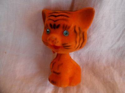 Vintage Flocked Tiger Cat Nodder Bobblehead  Rhinestone Eyes Hong Kong