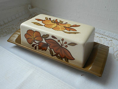 vintage French hand painted ceramic lidded butter dish