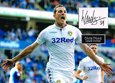 Chris WOOD SIGNED Autograph 16x12 Photo Mount AFTAL COA Leeds United LUFC