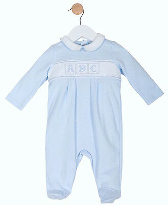 Baby Boys Sky Blue Cotton Embroidered All in One Romper Newborn 0-3 3-6 Month