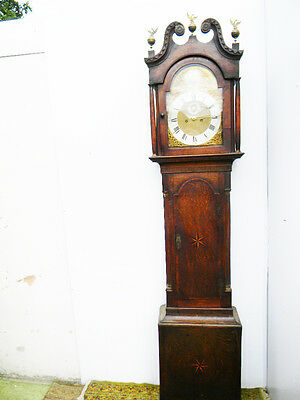 antique grandfather clock oak and mahogany case brass faced arched dial 8 day