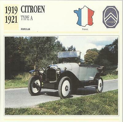 CITROEN TYPE A 1919 - 1921 original 2-sided Edito collector's trading card