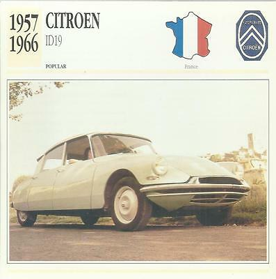 CITROEN ID 19 1957 - 1966 original 2-sided Edito collector's trading card