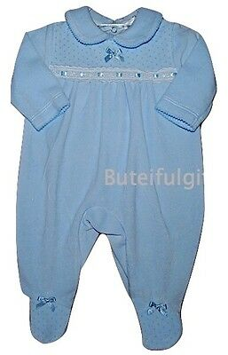 Baby Boys Sky Blue Velour Slotted Ribbon All in One Romper 0-3 3-6 Mth