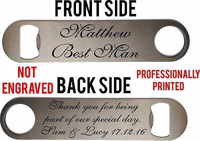 Personalised Steel Bottle Opener Best Man Usher Wedding Favours Thank You Gift