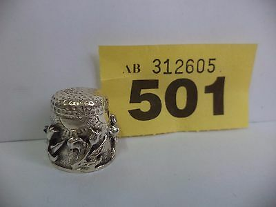 Vintage .925 Solid Silver Thimble with Flowers / Tulip Decoration