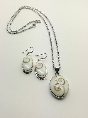 Vintage silver earrings eye of shiva and pendant on chain