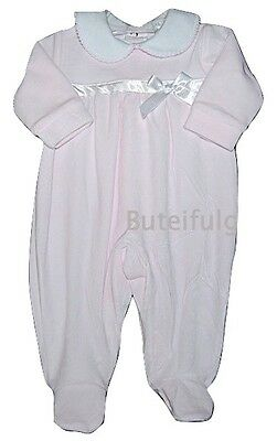 Baby Girls Pink Velour Satin Ribbon Bow All in One Romper Newborn 0-3 3-6 Mth