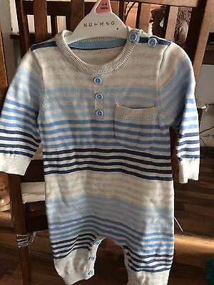 Boys Striped Blue Grey Romper Suit Size3-6 Months Bnwot From George