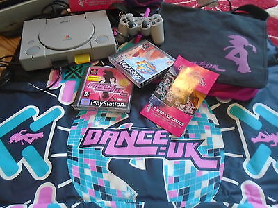 Playstation One PS1 Console Controller Dance UK Mat & Games + Official Bag