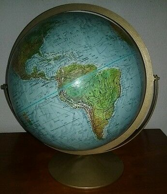 "Vintage Replogle Land And Sea 12"" Globe Raised Relief NICE"