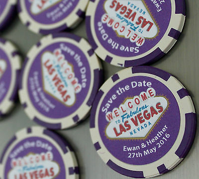 Personalised Casino Poker Chips Save the Date Fridge Magnets Wedding Customised