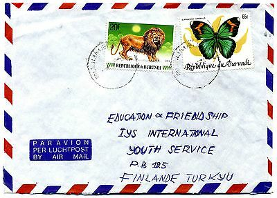 Burundi 1984 65F Butterfly SG1435 with SG 1497 Lion on cover