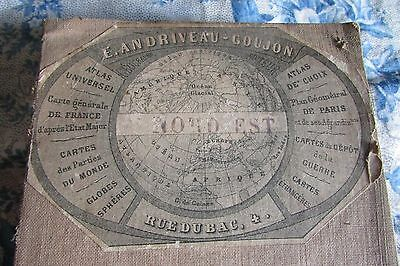 Superb Antique French Paris N/east Cycling Map On Linen Grt 4 Framing 1895