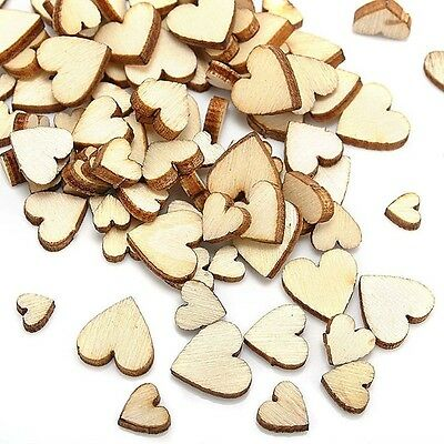 50 Assorted Plain Small Wooden Hearts - Mixed Size