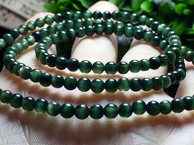4mm King Natural Green Hair Cat eye Crystal Beads Sphere Ball Necklace