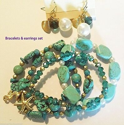 Wholesale Lot 3 Sea Life Bracelets Earrings Set Turquoise Bead Pearl Nautical