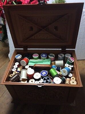 Vintage Sewing Box with Vintage Items
