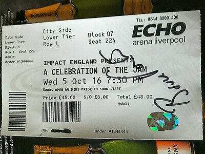 A Celebration of The Jam Show Ticket Hand Signed By Jam Guitarist Bruce Foxton