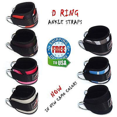 ARD Champs™ D Ring Ankle Straps Weight Lifting Gym Cable Attachment Cuff Pulley