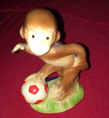"1981 Gorham Curious George 4.5"" Figurine Kicking Soccer Ball Pre Owned Japan"