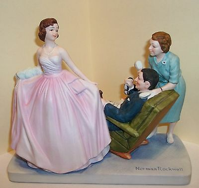 """VINTAGE 1979 LARGE NORMAN ROCKWELL FIGURINE """"SWEET SIXTEEN"""" in box With COA"""