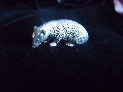 Sweet little silver coloured metal badger ornament