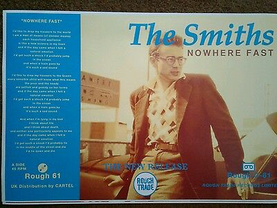 """The Smiths poster """"Nowhere Fast"""" James Dean 24 X 36!!!"""
