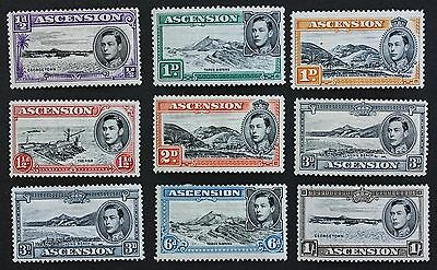 ASCENSION - SG38-44 Part Set of nine to 1/-. KGVI 1938-53. Mounted Mint MM.