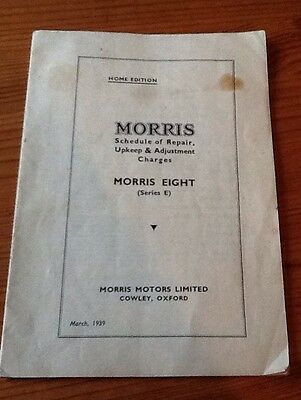 Classic Car MORRIS EIGHT Schedule of Repair, Upkeep & Adjustment Charges 1939