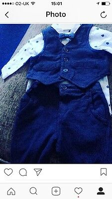 Next Baby Boy Dickie Bow Outfit 0-3 Months