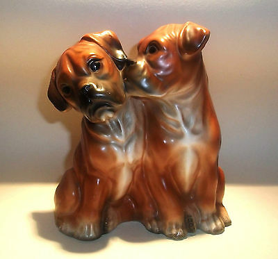 Vintage BOXER DOG PUPPIES pottery figurine cute kitsch 50s 60s retro germany ?