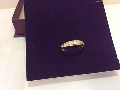14k 585 Gold Ring 9 CZ  Settings Size S - T