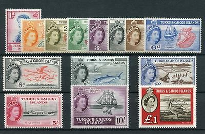 Turks & Caicos 1957 short set to £1 SG237/50 (exc 2s) MLH - see desc