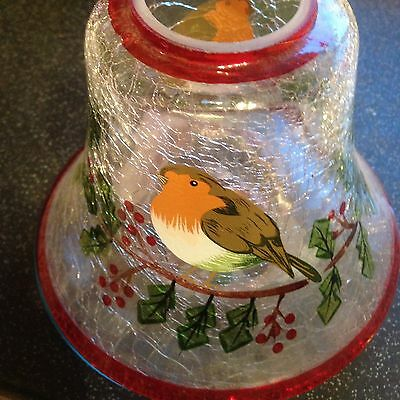 Christmas Robin Table Glass Decoration Candle Brand New