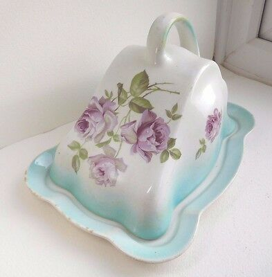 Antique English Cheese dish unusual blush turquoise Lilac roses Flowing lines
